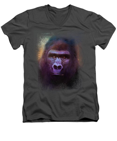 Colorful Expressions Gorilla Men's V-Neck T-Shirt by Jai Johnson