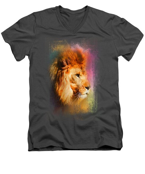 Colorful Expressions Lion Men's V-Neck T-Shirt by Jai Johnson