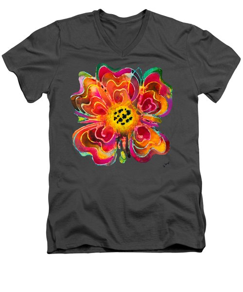 Colorful Flower Art - Summer Love By Sharon Cummings Men's V-Neck T-Shirt by Sharon Cummings