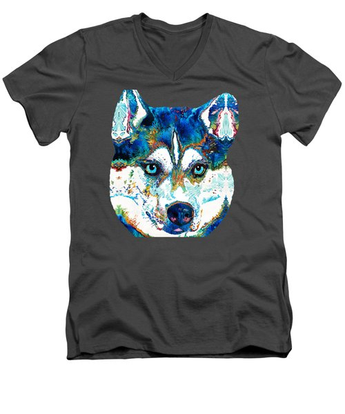 Colorful Husky Dog Art By Sharon Cummings Men's V-Neck T-Shirt by Sharon Cummings