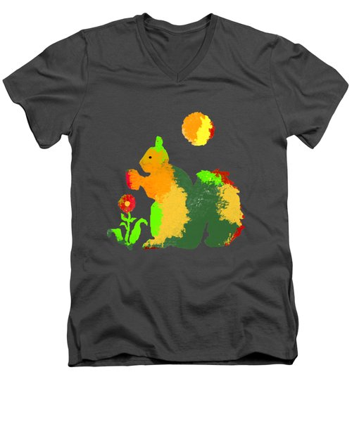 Colorful Squirrel 1 Men's V-Neck T-Shirt by Holly McGee