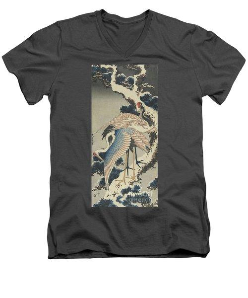 Cranes On Pine Men's V-Neck T-Shirt by Hokusai