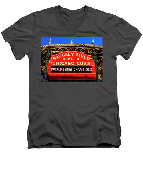 Cubs Win World Series Men's V-Neck T-Shirt by Andrew Soundarajan