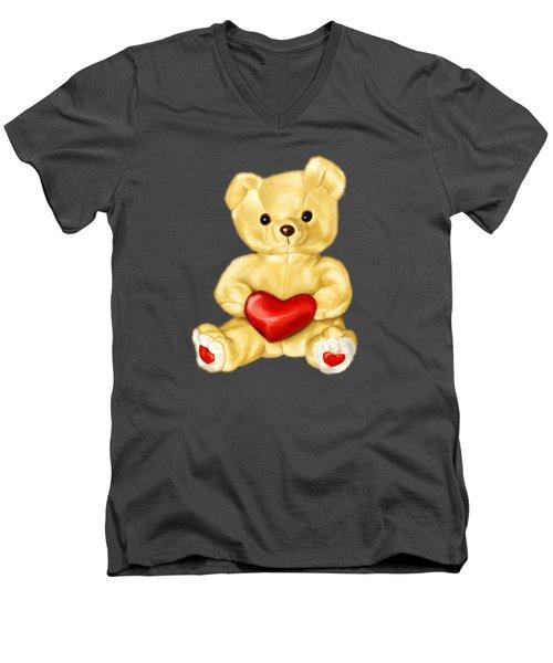 Cute Teddy Bear Hypnotist Men's V-Neck T-Shirt by Boriana Giormova