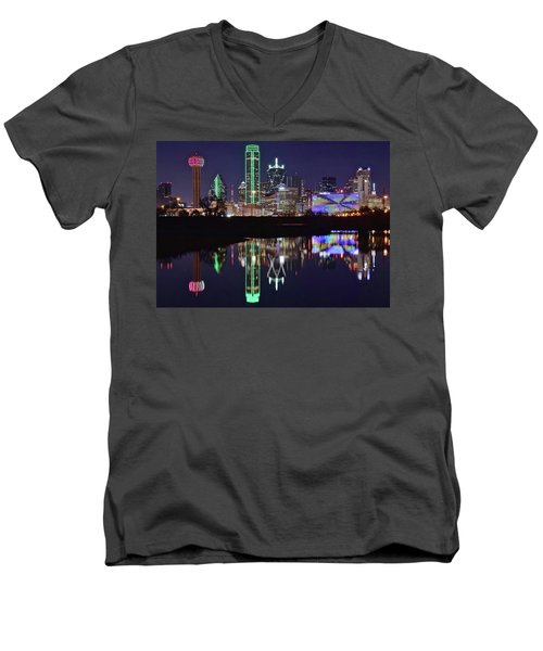 Dallas Reflecting At Night Men's V-Neck T-Shirt by Frozen in Time Fine Art Photography