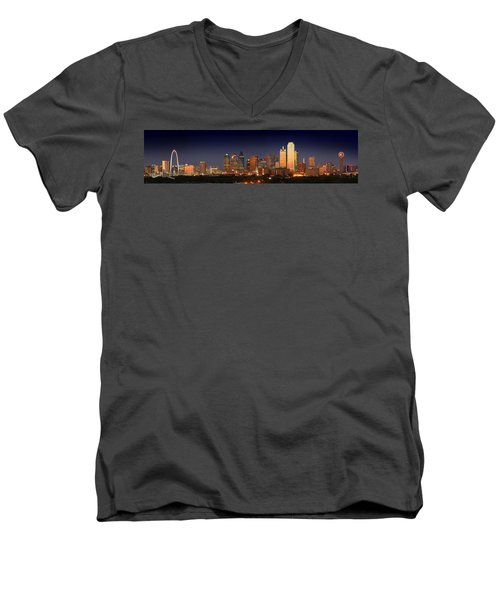 Dallas Skyline At Dusk  Men's V-Neck T-Shirt by Jon Holiday