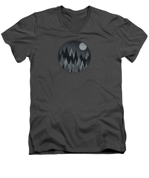 Dark Mystery Abstract Geometric Triangle Peak Woods Black And White Men's V-Neck T-Shirt by Philipp Rietz