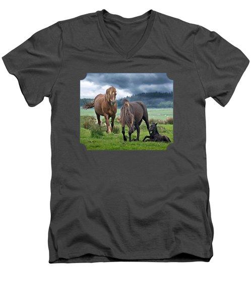 Dartmoor Ponies Men's V-Neck T-Shirt by Gill Billington