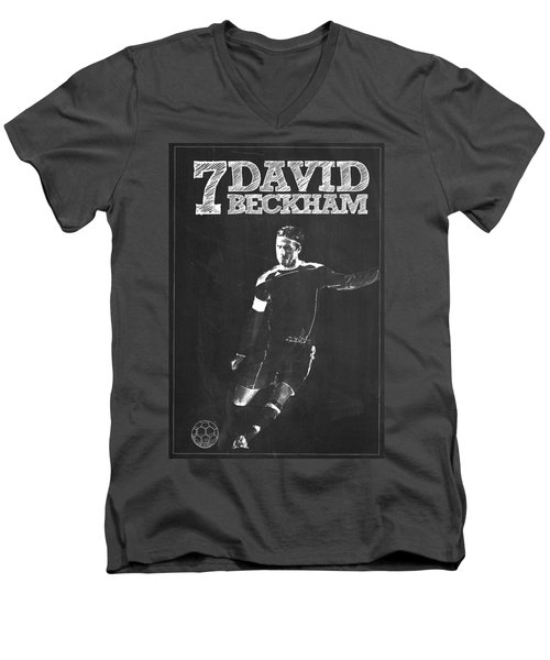David Beckham Men's V-Neck T-Shirt by Semih Yurdabak