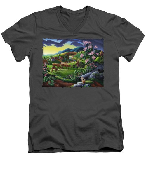 Deer Chipmunk Summer Appalachian Folk Art - Rural Country Farm Landscape - Americana  Men's V-Neck T-Shirt by Walt Curlee