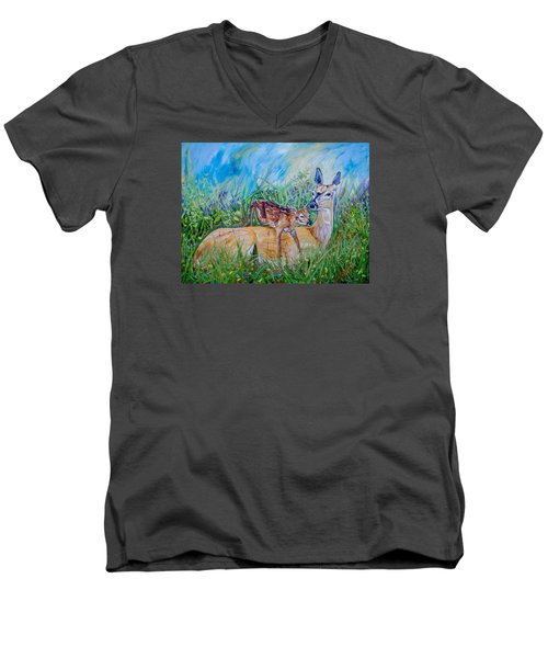 Deer Mom And Babe 24x18x1 Oil On Gallery Canvas Men's V-Neck T-Shirt by Manuel Lopez