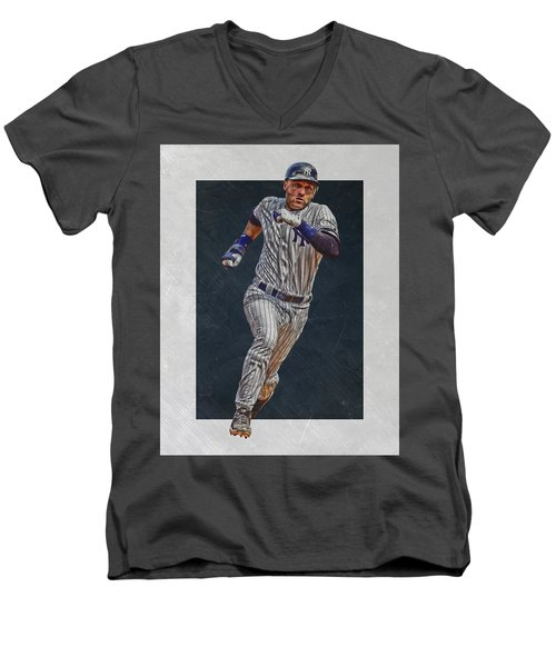Derek Jeter New York Yankees Art 3 Men's V-Neck T-Shirt by Joe Hamilton