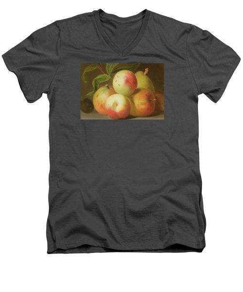 Detail Of Apples On A Shelf Men's V-Neck T-Shirt by Jakob Bogdany