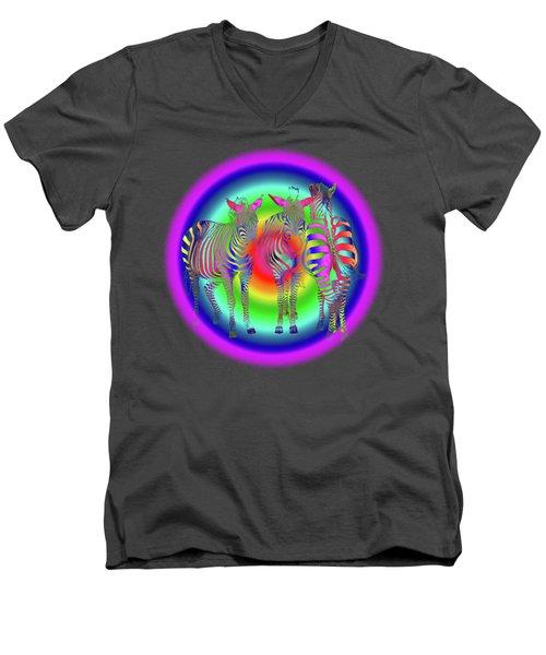 Disco Zebra Pop Art Men's V-Neck T-Shirt by Gill Billington