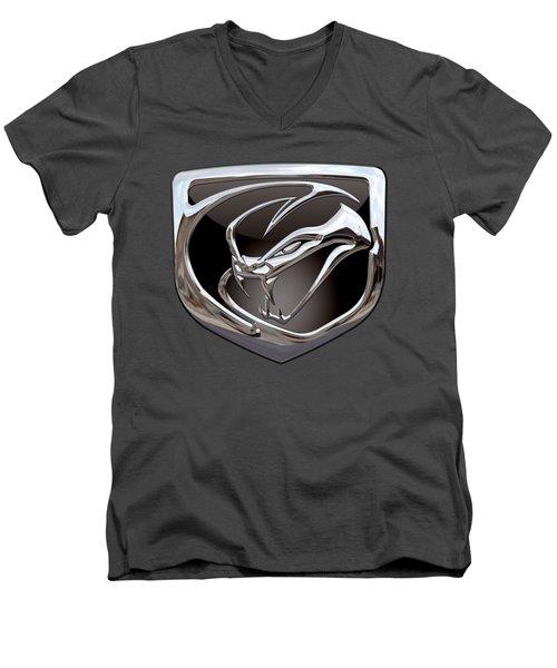 Dodge Viper 3 D  Badge Special Edition On Blue Men's V-Neck T-Shirt by Serge Averbukh