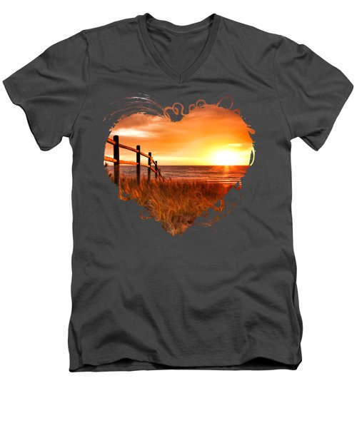 Door County Europe Bay Fence Sunrise Men's V-Neck T-Shirt by Christopher Arndt