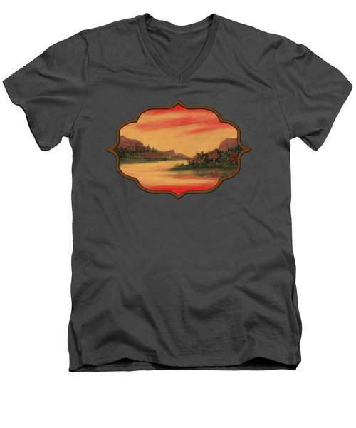 Dragon Sunset Men's V-Neck T-Shirt by Anastasiya Malakhova