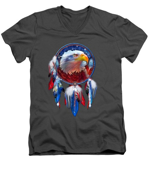Dream Catcher - Eagle Red White Blue Men's V-Neck T-Shirt by Carol Cavalaris