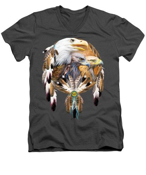 Dream Catcher - Three Eagles Men's V-Neck T-Shirt by Carol Cavalaris