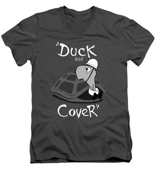 Duck And Cover - Vintage Nuclear Attack Poster Men's V-Neck T-Shirt by War Is Hell Store