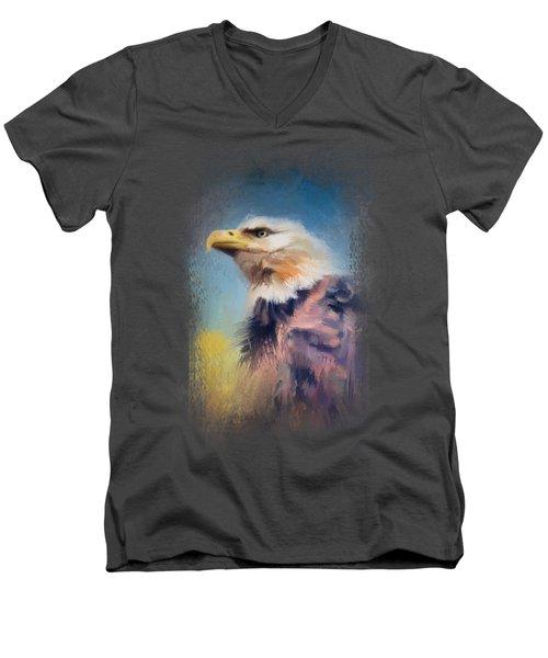 Eagle On Guard Men's V-Neck T-Shirt by Jai Johnson