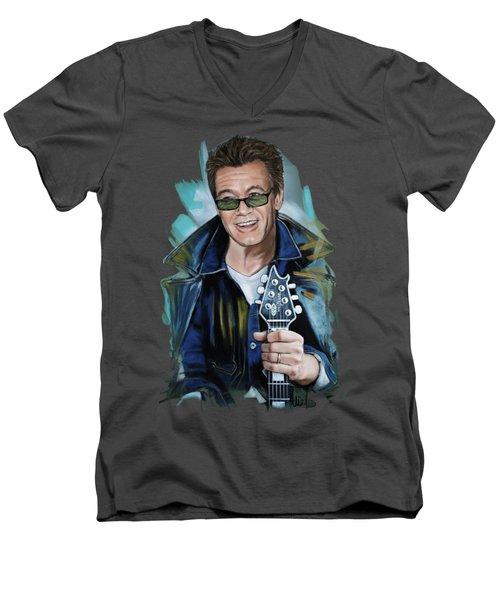 Eddie Van Halen Men's V-Neck T-Shirt by Melanie D