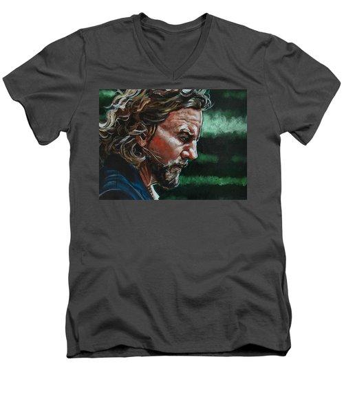Eddie Vedder Men's V-Neck T-Shirt by Joel Tesch
