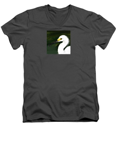 Egret Men's V-Neck T-Shirt by Beth Klock