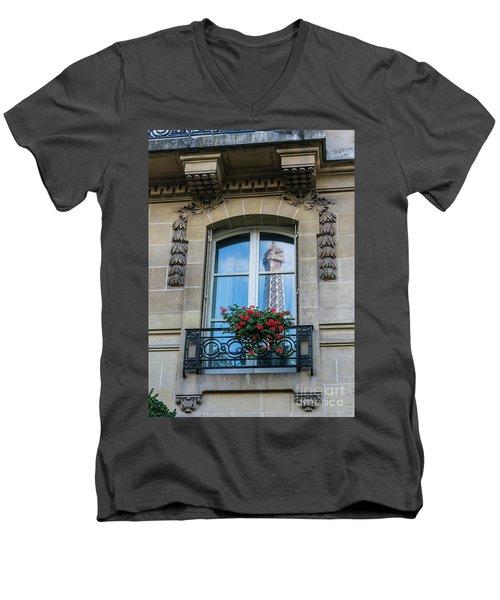 Eiffel Tower Paris Apartment Reflection Men's V-Neck T-Shirt by Mike Reid