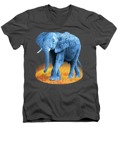 Elephant - World On Fire Men's V-Neck T-Shirt by Gill Billington