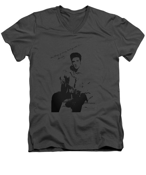 Elvis Presley - When Things Go Wrong Men's V-Neck T-Shirt by Serge Averbukh