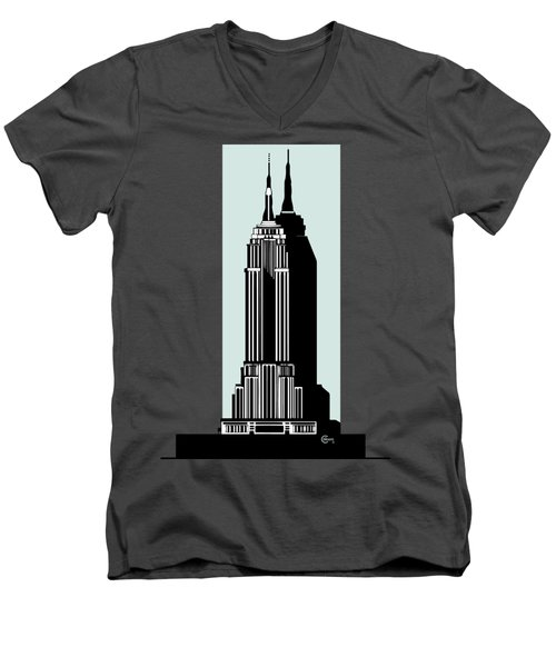 Empire State Building Deco Minimal Men's V-Neck T-Shirt by Cecely Bloom