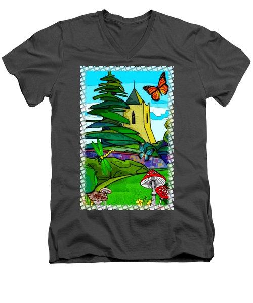 English Garden Whimsical Folk Art Men's V-Neck T-Shirt by Sharon and Renee Lozen