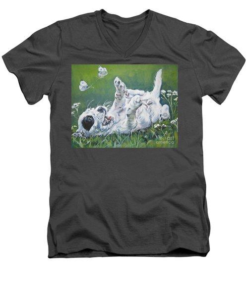 English Setter Puppy And Butterflies Men's V-Neck T-Shirt by Lee Ann Shepard