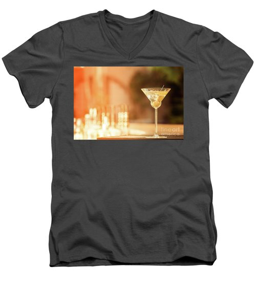 Evening With Martini Men's V-Neck T-Shirt by Ekaterina Molchanova
