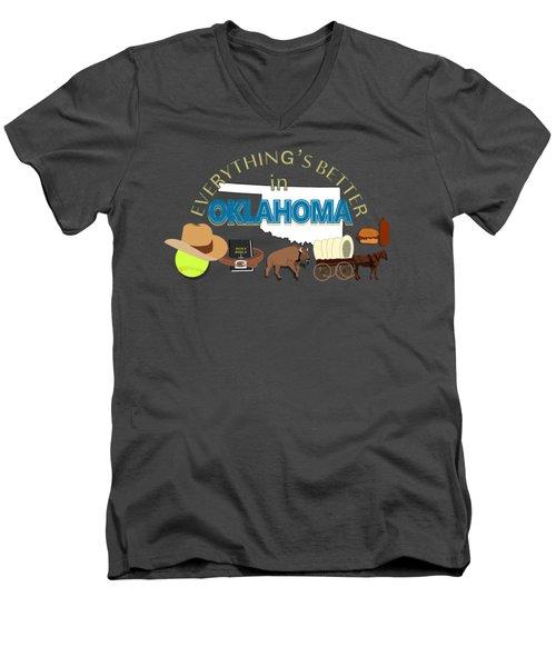 Everything's Better In Oklahoma Men's V-Neck T-Shirt by Pharris Art