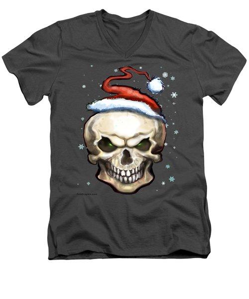 Evil Christmas Skull Men's V-Neck T-Shirt by Kevin Middleton
