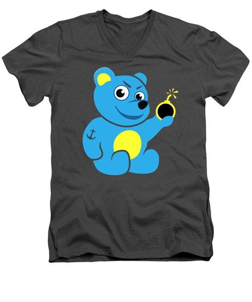 Evil Tattooed Teddy Bear Men's V-Neck T-Shirt by Boriana Giormova