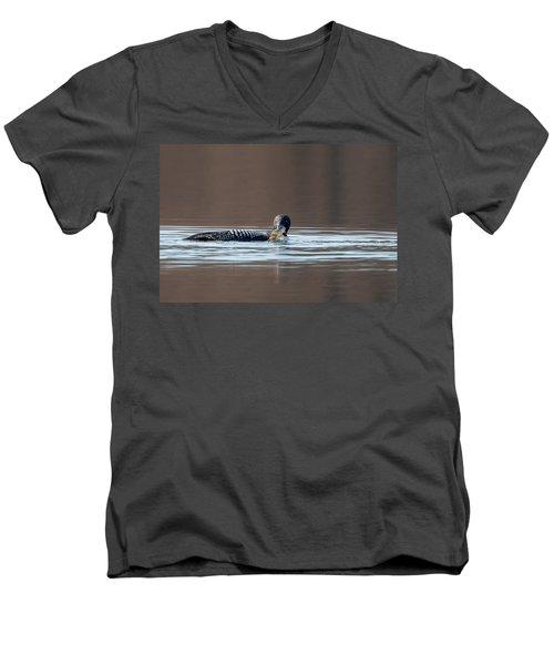 Feeding Common Loon Men's V-Neck T-Shirt by Bill Wakeley