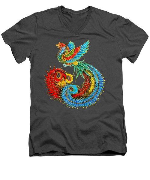 Fenghuang Chinese Phoenix Men's V-Neck T-Shirt by Rebecca Wang