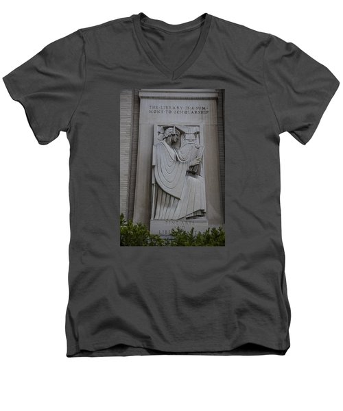 Fine Art Library Penn State  Men's V-Neck T-Shirt by John McGraw