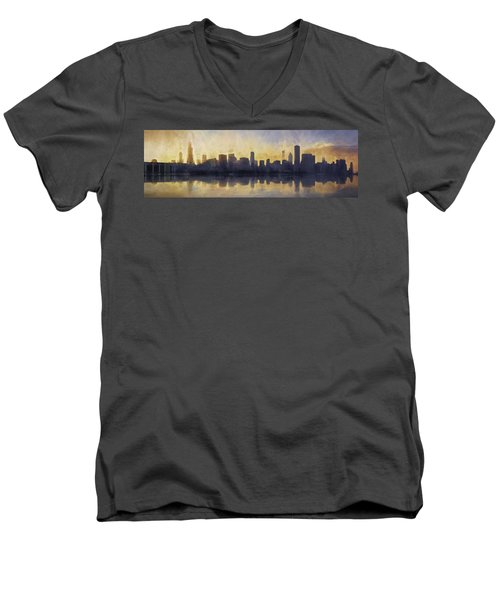 Fire In The Sky Chicago At Sunset Men's V-Neck T-Shirt by Scott Norris