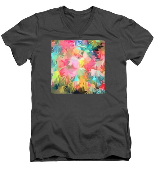Fireworks Floral Abstract Square Men's V-Neck T-Shirt by Edward Fielding