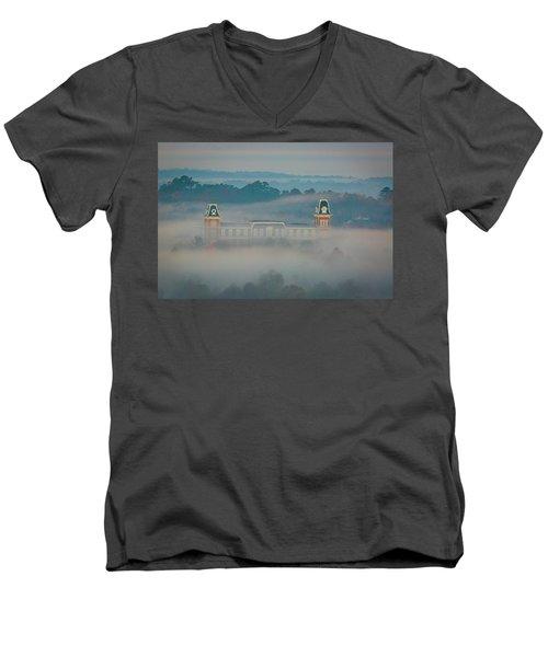 Fog At Old Main Men's V-Neck T-Shirt by Damon Shaw