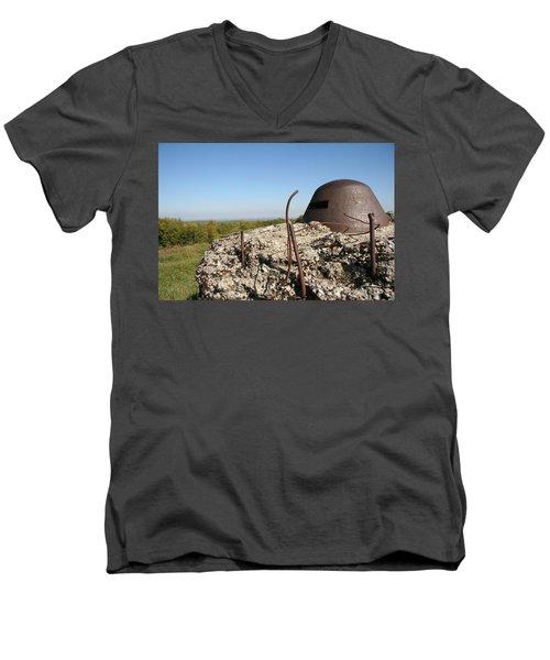 Men's V-Neck T-Shirt featuring the photograph Fort De Douaumont - Verdun by Travel Pics