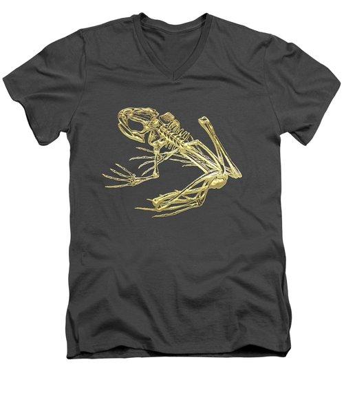 Frog Skeleton In Gold On Red  Men's V-Neck T-Shirt by Serge Averbukh
