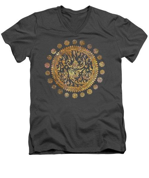 Garuda's Golden Victory - Color Edition Men's V-Neck T-Shirt by David Ardil