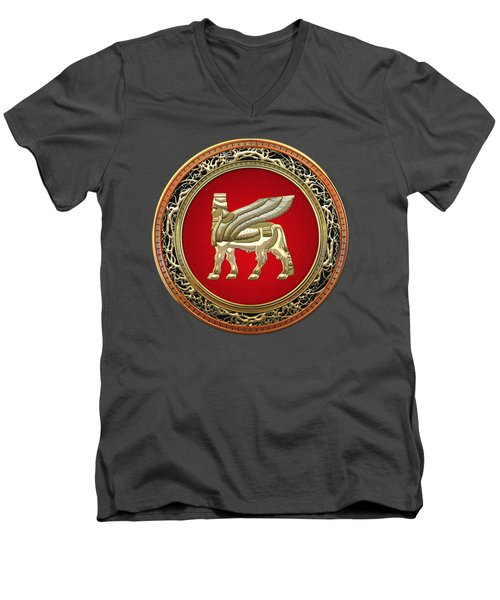 Golden Babylonian Winged Bull  Men's V-Neck T-Shirt by Serge Averbukh