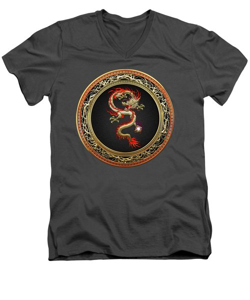 Golden Chinese Dragon Fucanglong Men's V-Neck T-Shirt by Serge Averbukh