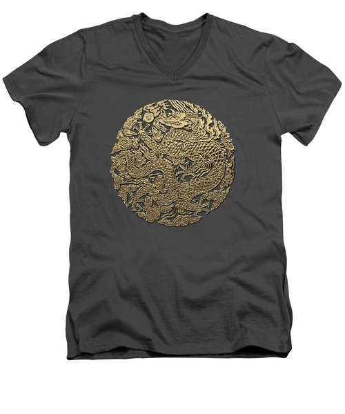 Golden Chinese Dragon On Red Leather Men's V-Neck T-Shirt by Serge Averbukh